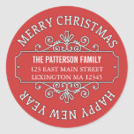 Classic Contemporary Merry Christmas Label Classic Round Sticker