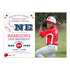Classic Cool Baseball Kids Photo Birthday Invitation