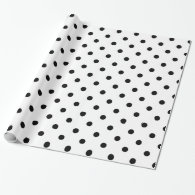 Classic, cool, elegant B&W  polka dots  holiday Wrapping Paper