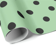 Classic, cool, elegant black, green  polka dots gift wrapping paper