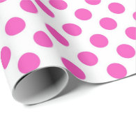 Classic, cool, white and pink polka dots gift wrap paper