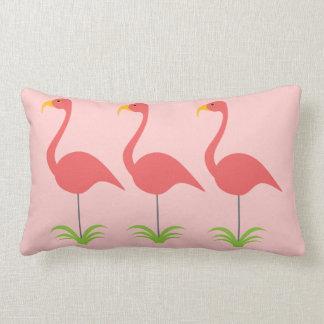 Classic Coral Pink Retro Lawn Flamingo Row Lumbar Pillow