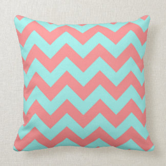 Classic Coral & Turquoise Chevron Pattern Pillow