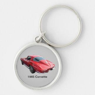 Classic Corvette Coupe Silver-Colored Round Keychain