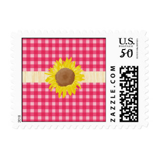 Classic country pink plaids and sunflowers. postage