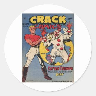 Classic Crack Comics Round Sticker