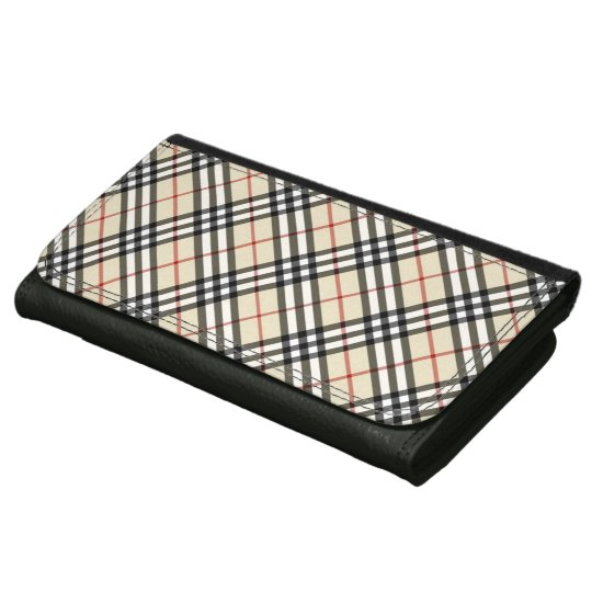 Classic Crossed Plaid Checked Tartan Pattern Leather Wallets
