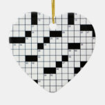Classic Crossword Grid Double-Sided Heart Ceramic Christmas Ornament