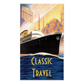 Vintage Adriatica Cruise Ship illustration with images from the 1920s on a business card for travel agents,  cruise lines, and tour operators