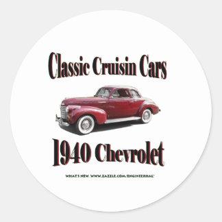 Classic Cruisin Cars 1940 Chevrolet Classic Round Sticker