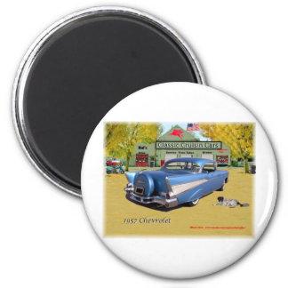 Classic Cruisin Cars 1957 Chevrolet Blue 2 Inch Round Magnet