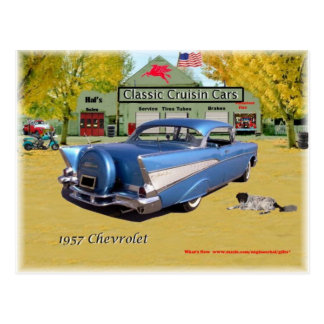 Classic Cruisin Cars 1957 Chevrolet Blue Postcard