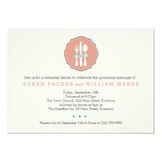 Classic Cutlery Beige Pinstripe Rehearsal Dinner Card