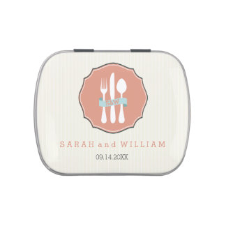 Classic Cutlery Beige Pinstripe Wedding Dinner Jelly Belly Candy Tin