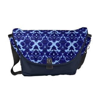 Classic Damask Blue Messenger Bag