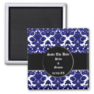 Classic Damask Blue (Save the Date) 2 Inch Square Magnet