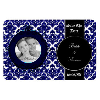 Classic Damask Blue (Save the Date) Rectangular Photo Magnet