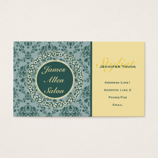 Classic Damask Business Card: Silver Sage & Yellow Business Card