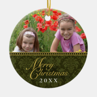 Classic Damask Christmas Photo Ornament