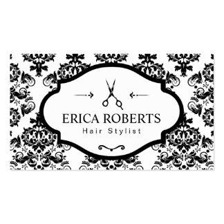 Classic Damask Elegant Scissor Hair Stylist Business Card