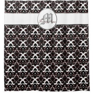 Black And White Damask Shower Curtain red damask shower curtain