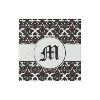 Classic Damask Hint of Red (Monogram) Stone Magnet