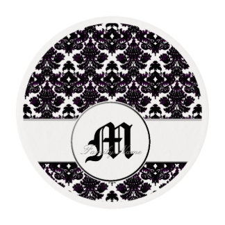 Classic Damask Hint of Violet (Monogram) Edible Frosting Rounds