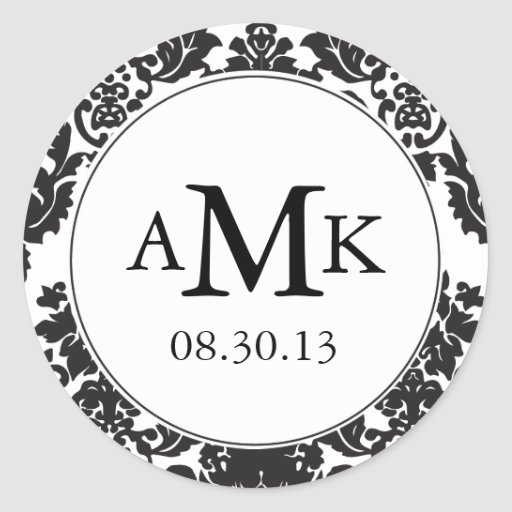 Classic Damask Monogram Stickers