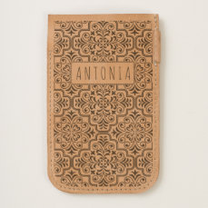Classic damask pattern, name handmade leather iPhone 6/6S case