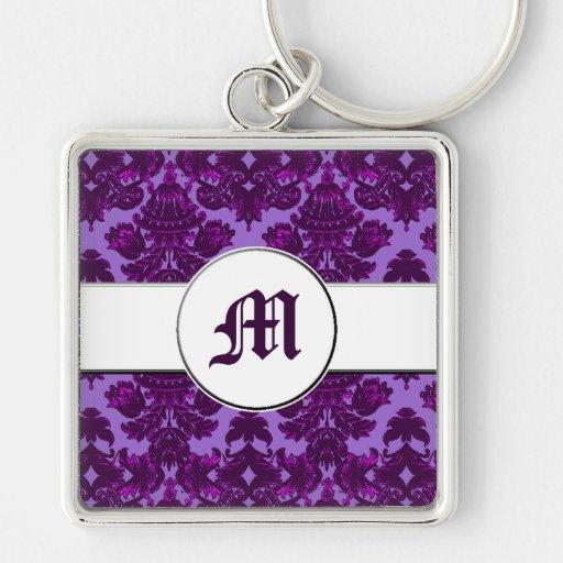 Classic Damask Purple (Monogram) Key Chain