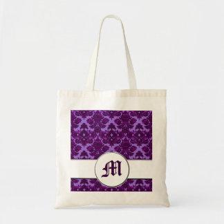 Classic Damask Purple (Monogram) Tote Bag