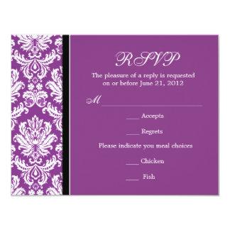 Classic Damask Purple RSVP Card