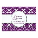 Classic Damask Purple (Wedding) 5x7 Paper Invitation Card