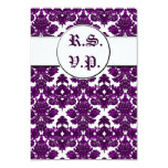 Classic Damask Purple (Wedding) 3.5x5 Paper Invitation Card