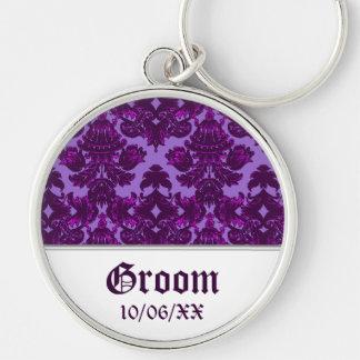 Classic Damask Purple Wedding Key Chain