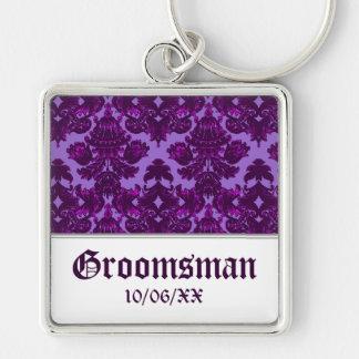 Classic Damask Purple Wedding Key Chains