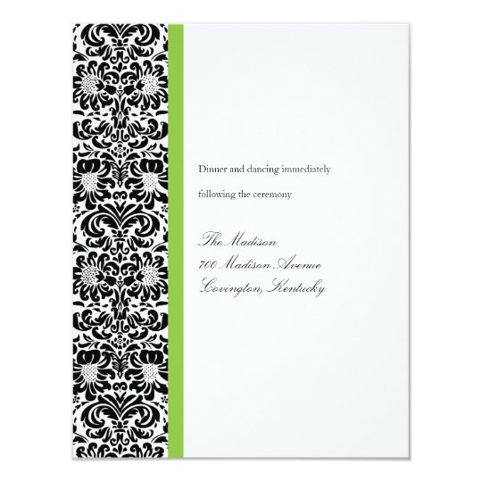 Classic Damask Reception Card