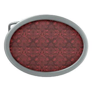 Classic Damask Red (Monogram) Oval Belt Buckle