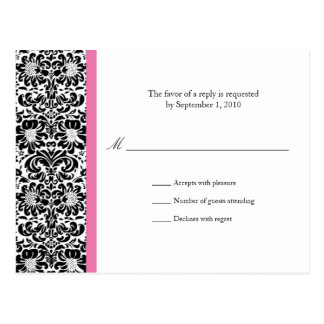 Classic Damask RSVP Reply Post Card