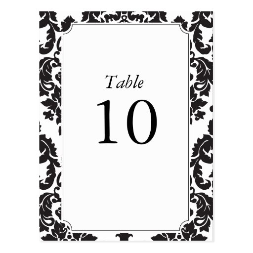 Classic Damask Table Numbers Postcard