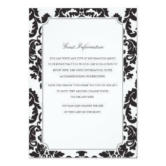 Classic Damask Wedding Insert 4.5x6.25 Paper Invitation Card