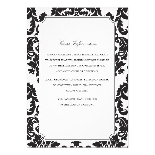Classic Damask Wedding Insert Personalized Invite