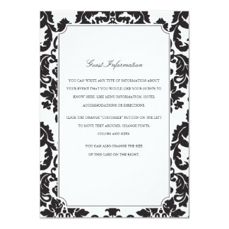 Classic Damask Wedding Insert 4.5x6.25 Paper Invitation Card