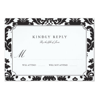 Classic Damask Wedding RSVP 3.5x5 Paper Invitation Card