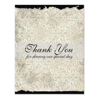 Classic Damask Wedding Thank You Notes, Black Card