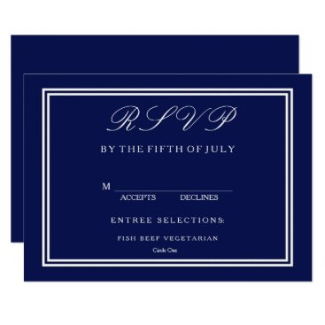 Beach Themed Classic Dark Navy Blue Wedding Card