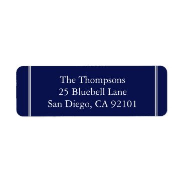 Beach Themed Classic Dark Navy Blue Wedding Label