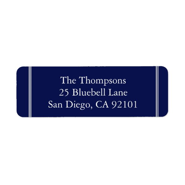 Classic Dark Navy Blue Wedding Label