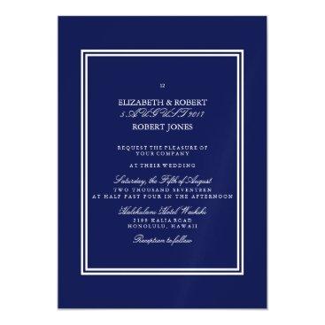 Beach Themed Classic Dark Navy Blue Wedding Magnetic Card