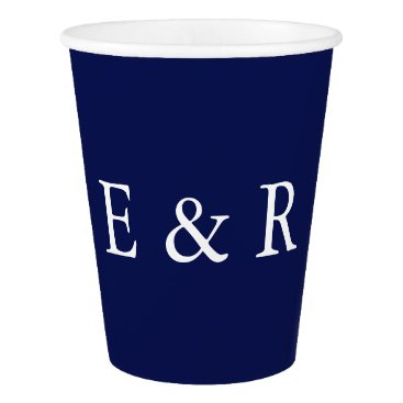 Valentines Themed Classic Dark Navy Blue Wedding Paper Cup